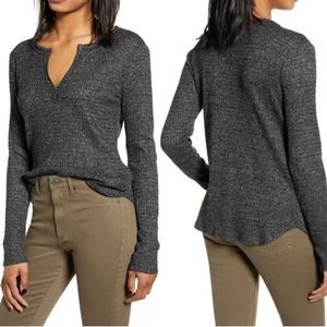 Nordstrom Socialite Small Top Thermal Henley Long Sleeve Charcoal Gray Soft S